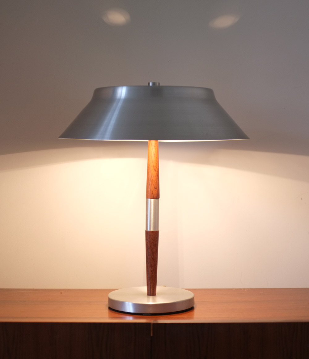1960s aluminium and rosewood table lamp