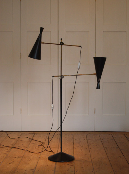 Floor lamp with double shades by GA Scott for Maclamp