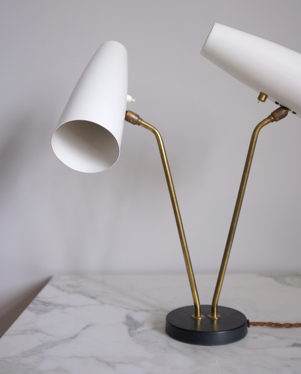 Oswald Hollman 1950s double shade lamp