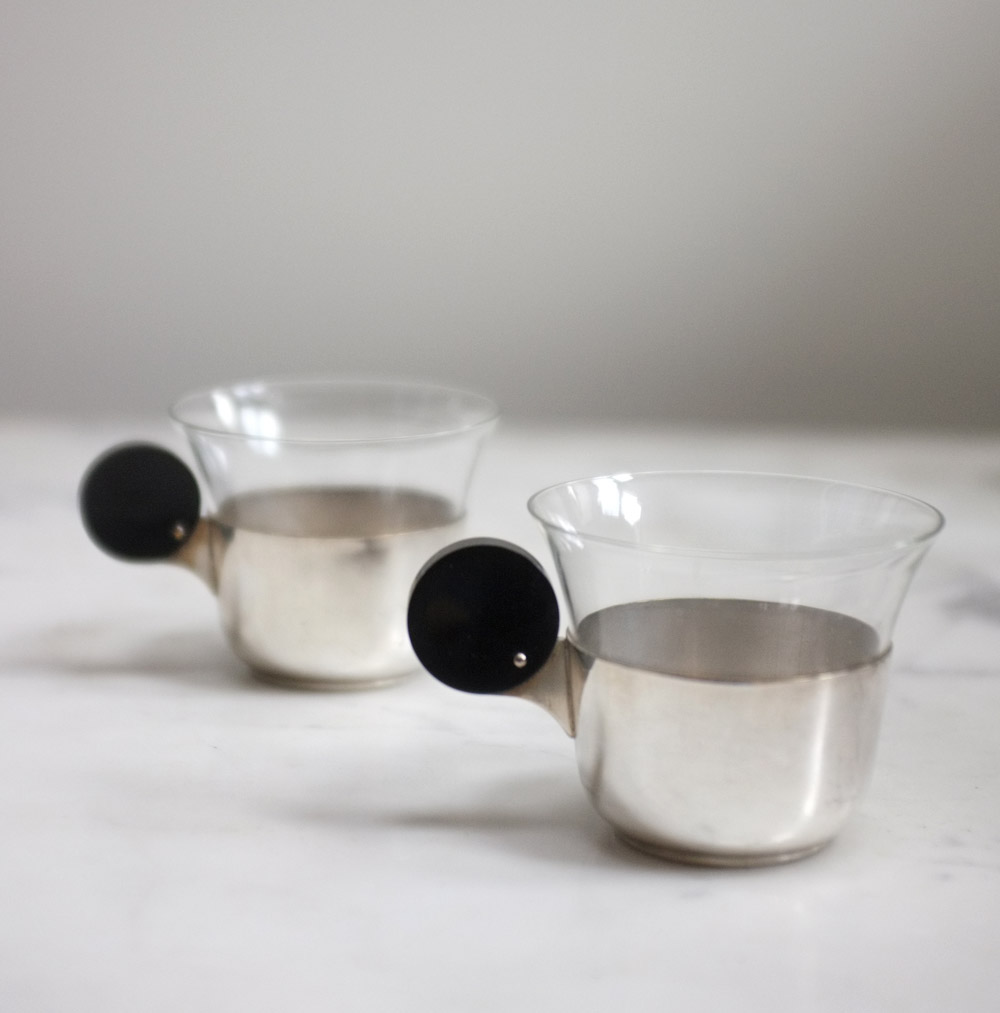 1930s/1940s vintage deco glass cups and holders