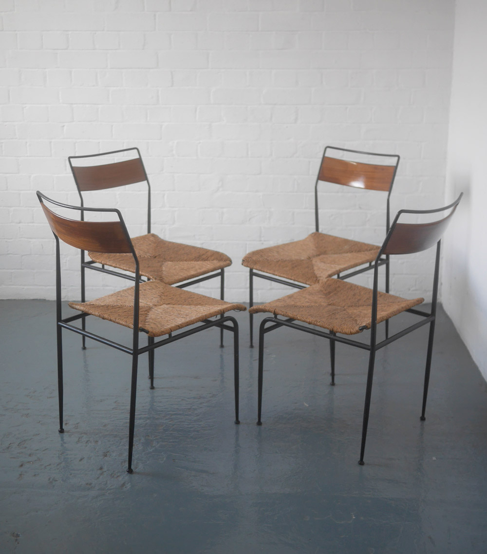 1960s wicker and metal dining chairs