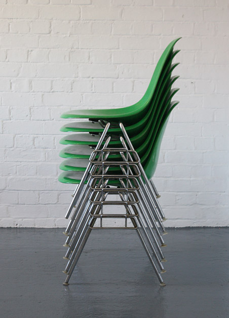 Eames kelly green stacking chairs by Herman Miller