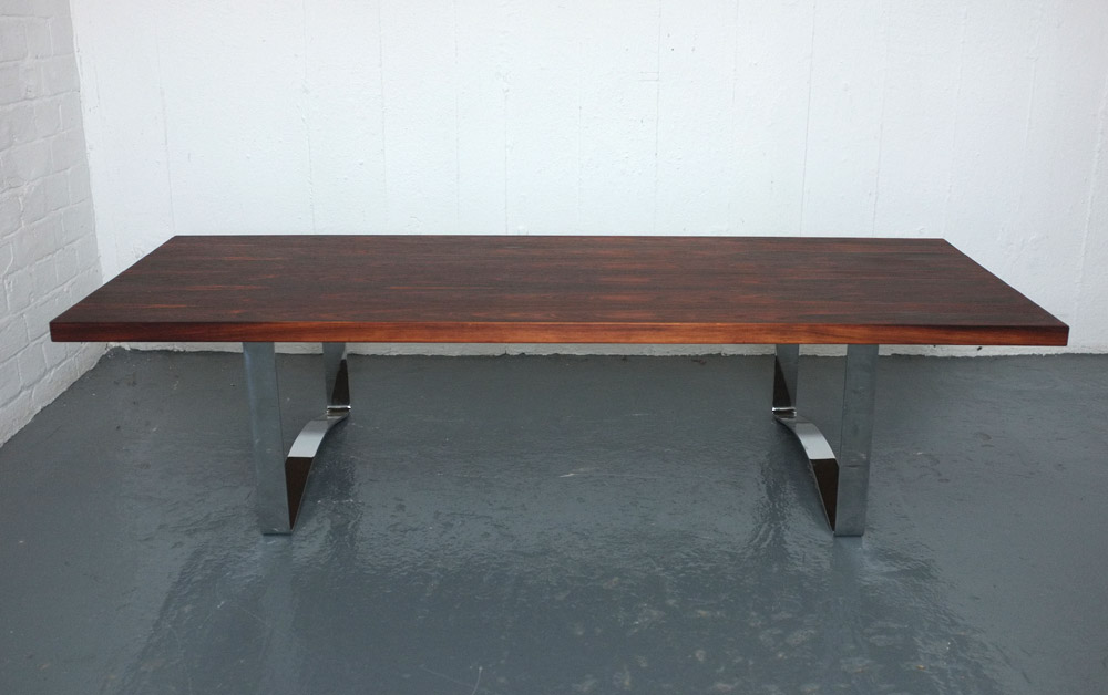Bodil Kjær 1950s rosewood and chrome coffee table
