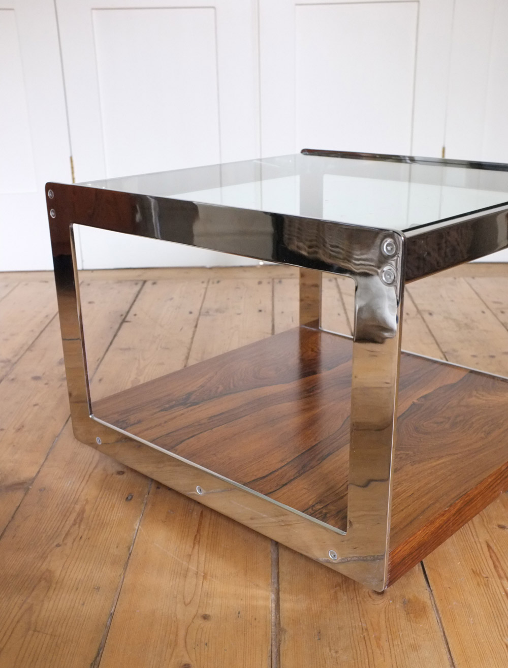 Merrow Associates rosewood and chrome coffee table