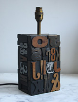 1960s letterpress lamp base